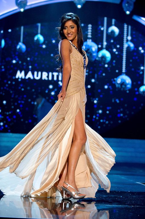 . Miss Mauritius 2012 Ameeksha Dilchand competes in an evening gown of her choice during the Evening Gown Competition of the 2012 Miss Universe Presentation Show in Las Vegas, Nevada, December 13, 2012. The Miss Universe 2012 pageant will be held on December 19 at the Planet Hollywood Resort and Casino in Las Vegas. REUTERS/Darren Decker/Miss Universe Organization L.P/Handout