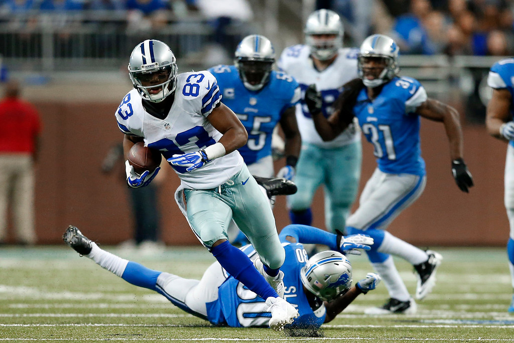 . Dallas Cowboys wide receiver Terrance Williams (83) breaks free on a 60-yard touchdown reception against the Detroit Lions in the fourth quarter of an NFL football game in Detroit, Sunday, Oct. 27, 2013. (AP Photo/Rick Osentoski)