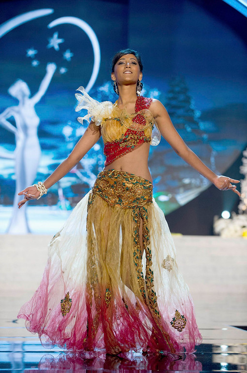 . Miss Mauritius Ameeksha Dilchand performs onstage at the 2012 Miss Universe National Costume Show at PH Live in Las Vegas, Nevada December 14, 2012. The 89 Miss Universe contestants will compete for the Diamond Nexus Crown on December 19, 2012. REUTERS/Darren Decker/Miss Universe Organization L.P./Handout