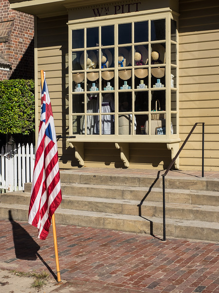 Colonial Storefront with Flags