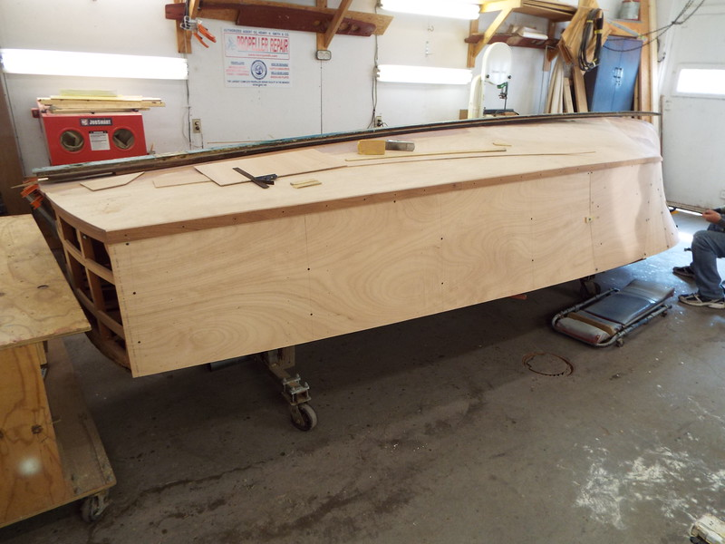 Port plywood skin being fit.