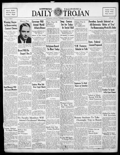 Daily Trojan, Vol. 26, No. 42, November 21, 1934