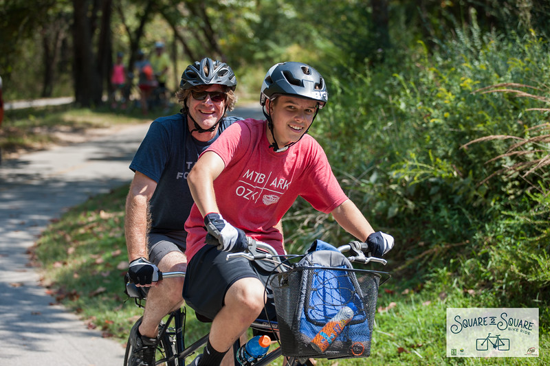 The fall Square 2 Square bike ride brought cyclists of all ages to the startline at the Bentonville Square where they proceeded to bike the Razorback Greenway through 4 other towns to finish the 30 miles at the Fayetteville Square.