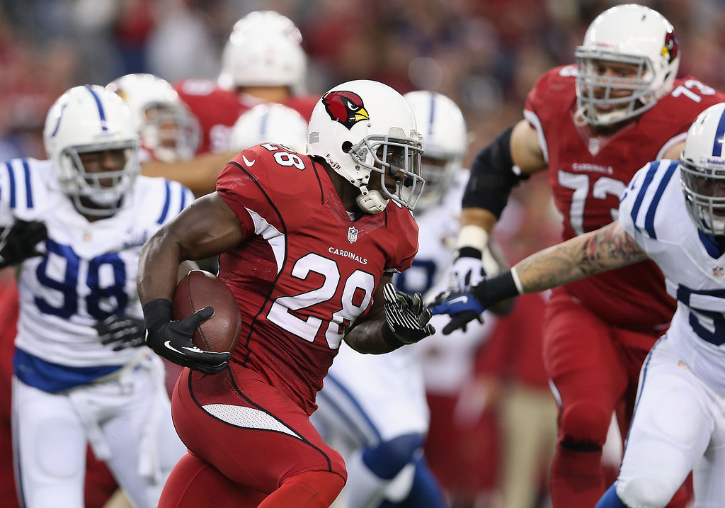 . Running back Rashard Mendenhall #28 of the Arizona Cardinals rushes the football against the Indianapolis Colts during the NFL game at the University of Phoenix Stadium on November 24, 2013 in Glendale, Arizona.  (Photo by Christian Petersen/Getty Images)