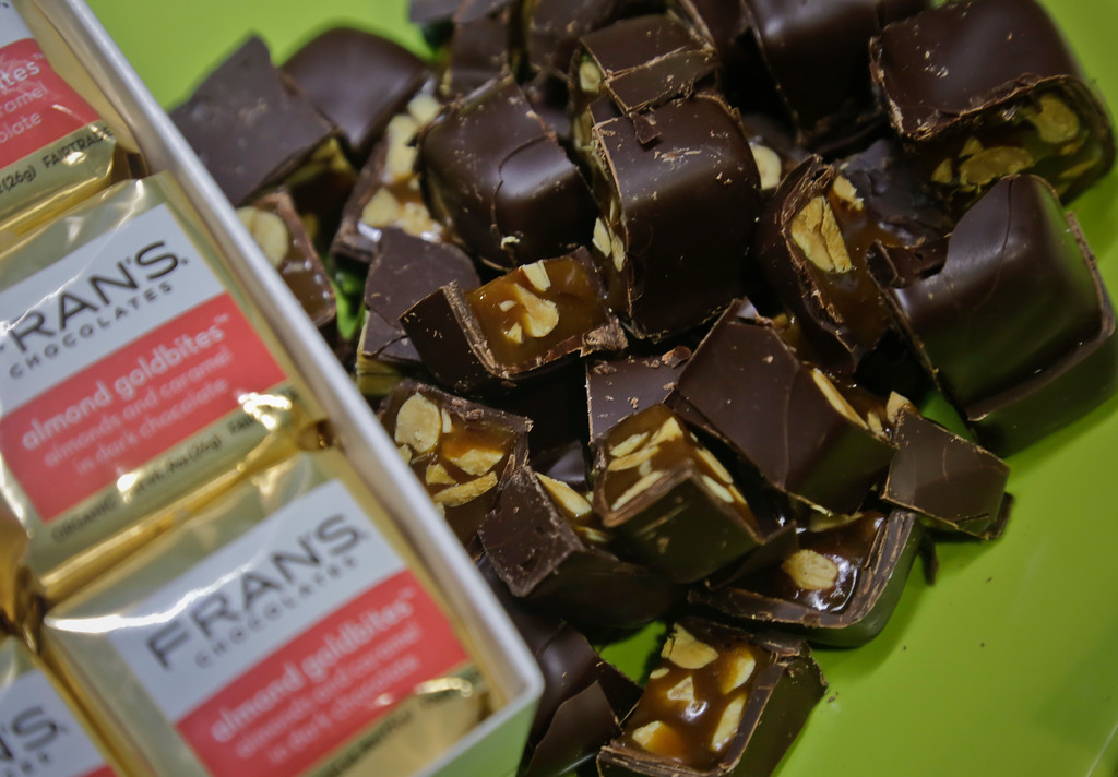 . Fran\'s Almond Gold Bar is unveiled at a press preview as the 2017 Sofi specialty foods new product winner in the chocolate candy category, Thursday, June 22, 2017, in New York. The product is among thousands of food and beverage items from more than 2,600 food artisans, importers and entrepreneurs from the around the globe at the annual Summer Fancy Food Show at the Javits Center. (AP Photo/Bebeto Matthews)