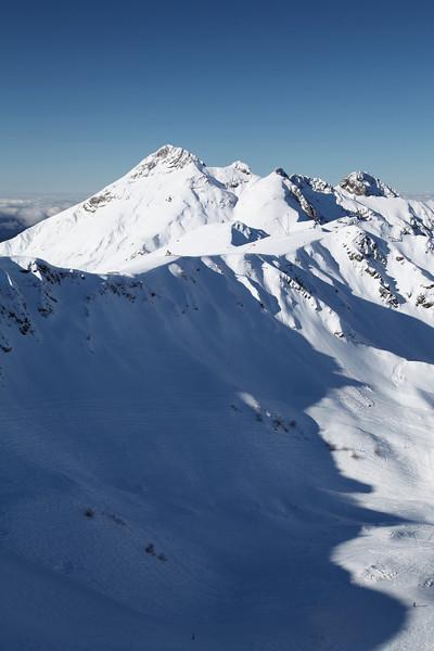 The peaks of the Caucasus near Krasnaya Polyana, Russia.