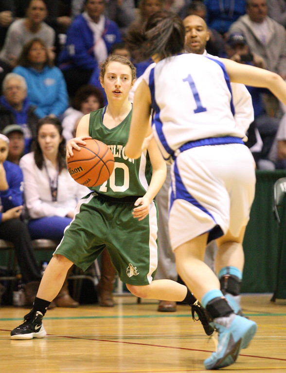 . Hamilton\'s Lauren Weeks  (10) looks for the pass  as Ft Edwards Britnni Sardina (1)  defends in the first half of the NYSPHSAA Class D semifinal in Troy on Saturday, March 15, 2014.JOHN HAEGER-ONEIDA DAILY DISPATCH @ONEIDAPHOTO ON TWITTER