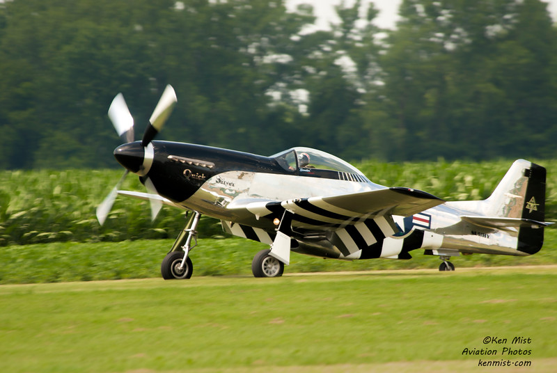 """Scott Yoak in the P-51D """"Quick Silver"""" at the 2015 National Warplane Museum Geneseo Airshow."""