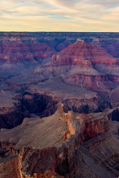 View of the Grand Canyon in Arizona, USA near sunset