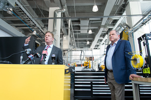 04/11/19 Wesley Bunnell | Staff Stanley Back & Decker launched their Advanced Manufacturing Center of Excellence, called Manufactury 4.0 on Thursday at its downtown Hartford location at 1 Constitution Plaza. Governor Ned Lamont, L, and President and CEO of Stanley Black and Decker Jim Loree.