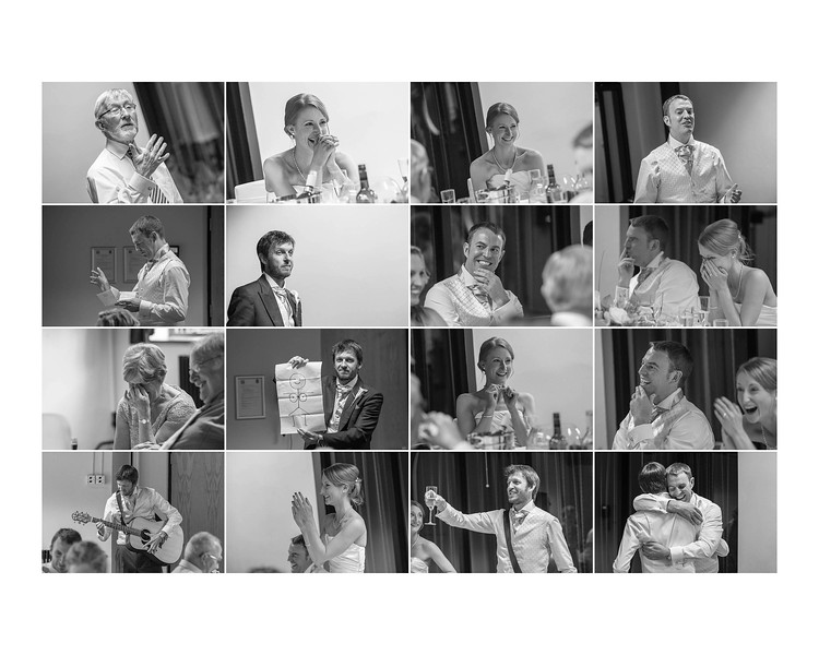 Wedding Photography of Hannah & Edward, Austin Court, Birmingham, Edinburgh Photograph is a collage of the speech moments from the wedding