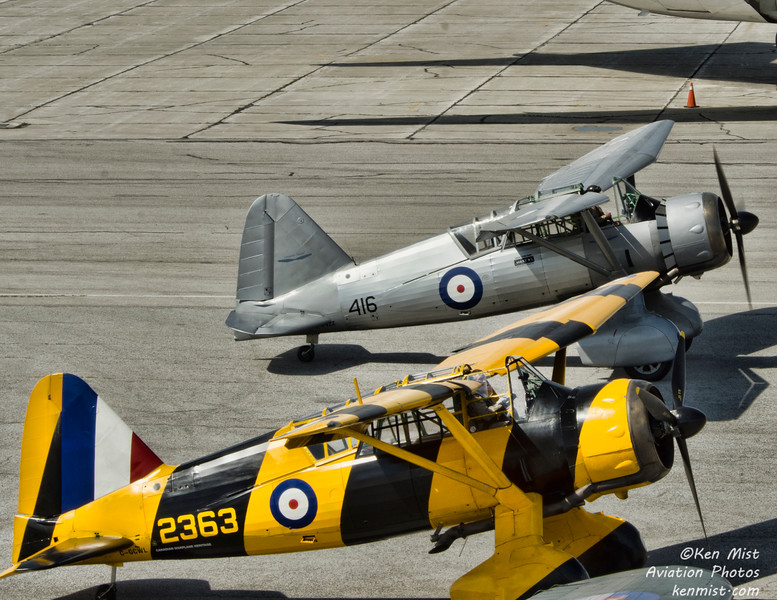 Westland Lysanders from Vintage Wings of Canada and the Canadian Warplane Heritage Museum together at 2015 SkyFest