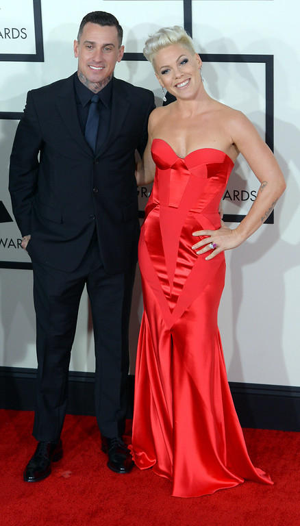 . Carey Hart and  Pink arrive at the 56th Annual GRAMMY Awards at Staples Center in Los Angeles, California on Sunday January 26, 2014 (Photo by David Crane / Los Angeles Daily News)