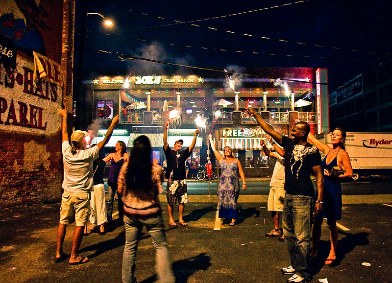 The Sparkler People sing the national anthem in front of Joe's Crab Shack, Nashville, 11:15 PM, July 4th, 2010.