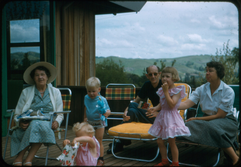 Robinsons & Freemans on our deck, 1957