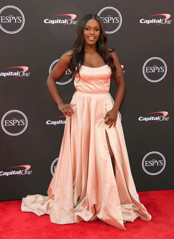 . Bobsledder Aja Evans arrives at the ESPY Awards at Microsoft Theater on Wednesday, July 18, 2018, in Los Angeles. (Photo by Willy Sanjuan/Invision/AP)