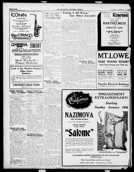 The Southern California Trojan, Vol. 14, No. 46, January 12, 1923