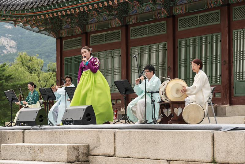 "A traditional Korean music performance at Gyeongbokgung Palace, Seoul. I should mention that the first two songs they played were The Beatles' ""Obla-di-obla-da"" and ""Let It Be"". That was fairly sickening, played on Korean instruments. But when they went traditional, it was fantastic."