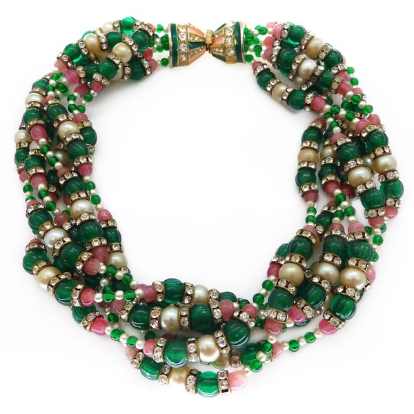 VINTAGE KENNETH JAY LANE PINK & GREEN MELON BEAD FAUX PEARL TORSADE NECKLACE