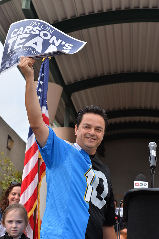 . Councilman Albert Robles wore a Charger/Raiders jersey. Press conference in Carson to announce stadium proposal to lure 2NFL teams to the city .Photo by Brad Graverson/The Daily Breeze 2-20-15