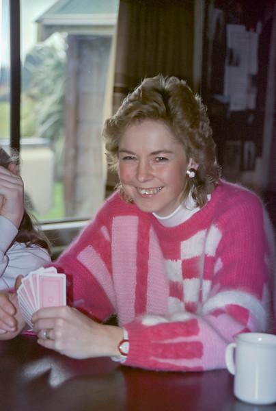 1991 07 183 Janet playing cards at Ohakune Lodge NEG.jpg