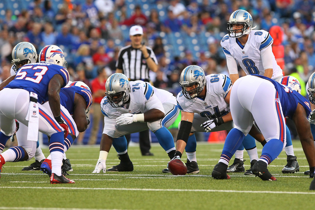 . Detroit Lions quarterback Dan Orlovsky (8) prepares for the snap against the Buffalo Bills during the first half of a preseason NFL football game, Thursday, Aug. 28, 2014, in Orchard Park, N.Y. (AP Photo/Bill Wippert)