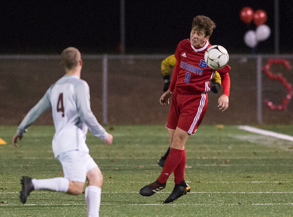 11/06/19 Wesley Bunnell | StaffrrBerlin boys soccer vs South Windsor on Wednesday evening at Sage Park. Peter Cohen (9).