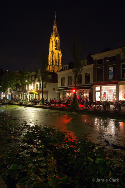 Late night life in Delft. Mostly studenrs, mostly speaking Dutch. No offense, but such an odd sounding language - a mixture between german and english to my ears., They really should just speak English, so much easier! (A joke! Relax!) Delft, Netherlands