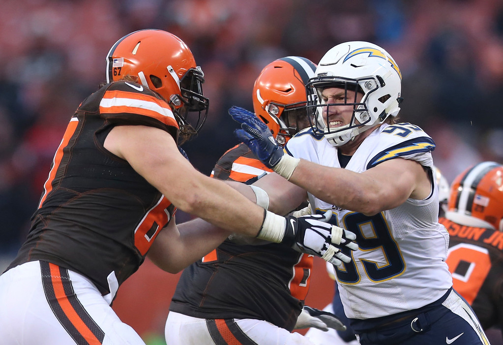 . dSan Diego Chargers defensive end Joey Bosa (99) defends against Cleveland Browns offensive tackle Austin Pasztor (67) in the second half of an NFL football game, Saturday, Dec. 24, 2016, in Cleveland. (AP Photo/Aaron Josefczyk)