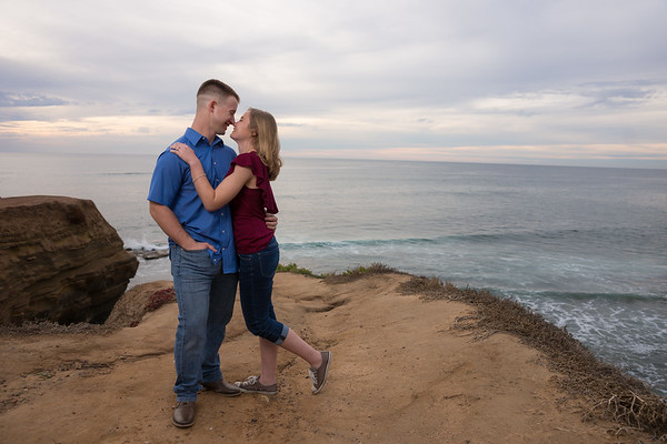 Sunset Cliffs Surprise Proposal and  Engagement Photography