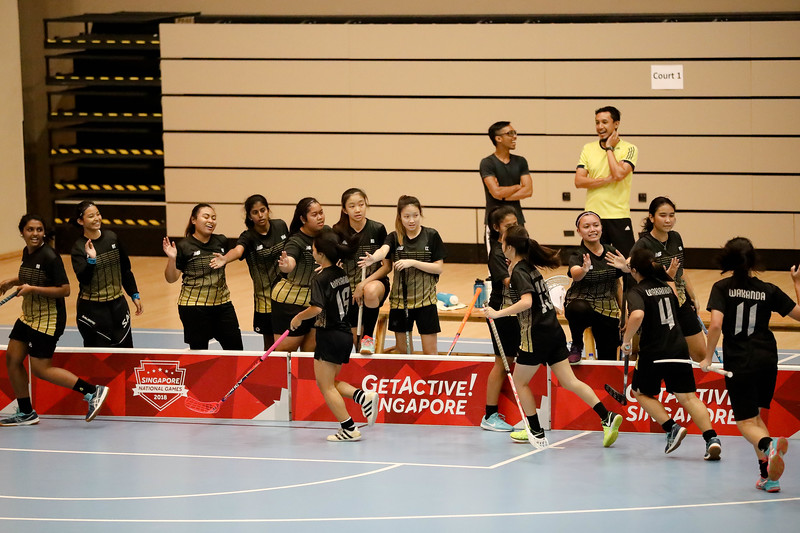 Players greeting each other post goal during Getactive floorball at One Tampines Hub at Tampines, Singapore on 27th July 2018. Photo by Sanketa Anand/Sport Singapore