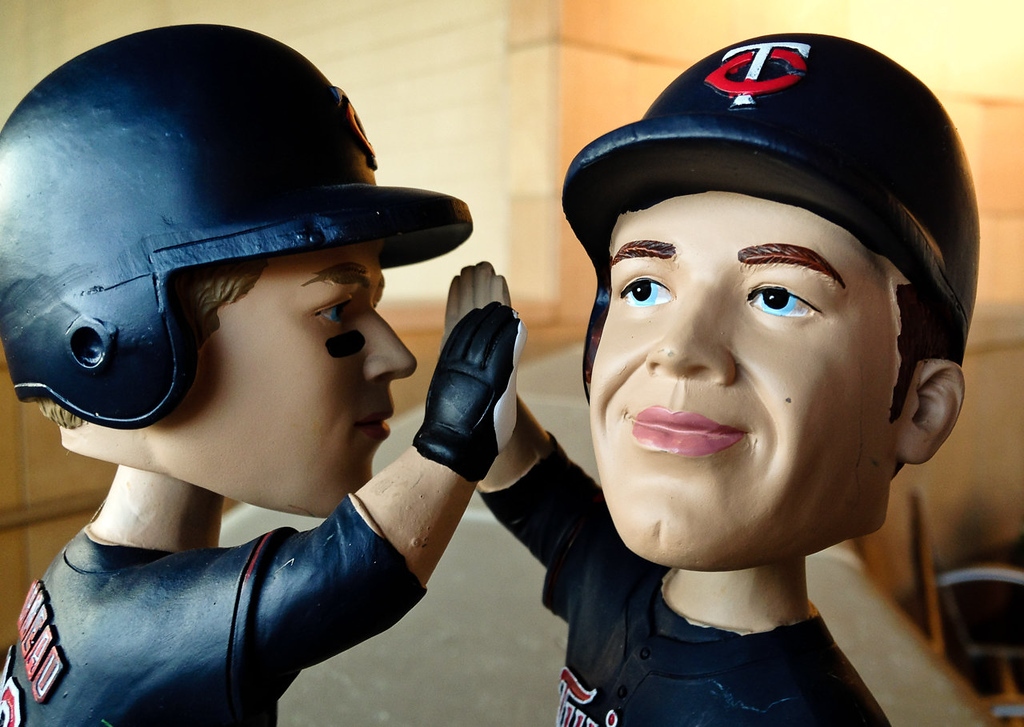 . The new bobble head featuring Justin Morneau and Joe Mauer at Target Field in Minneapolis, Minn., on Friday, July 19, 2013. (Pioneer Press: Ben Garvin)