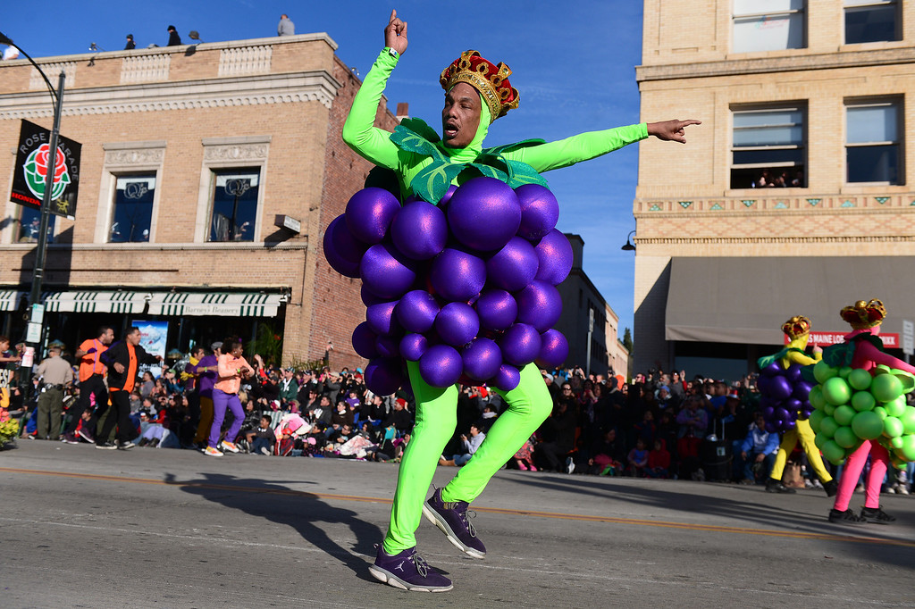 ". A dancer leads Stella Rosa Wines ""Stellabrate Good Times!\"" float as it heads down Colorado Boulevard during the125th Rose Parade in Pasadena, CA January 1, 2014. (Photo by Sarah Reingewirtz/Pasadena Star-News)"
