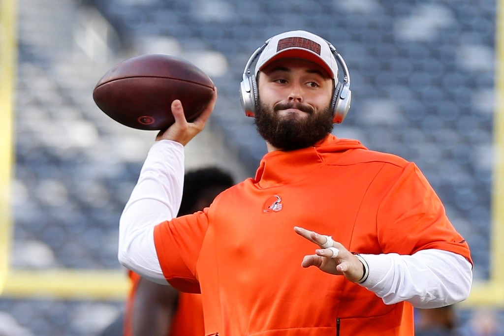. Cleveland Browns quarterback Baker Mayfield warms up before a preseason NFL football game against the New York Giants Thursday, Aug. 9, 2018, in East Rutherford, N.J. (AP Photo/Adam Hunger)