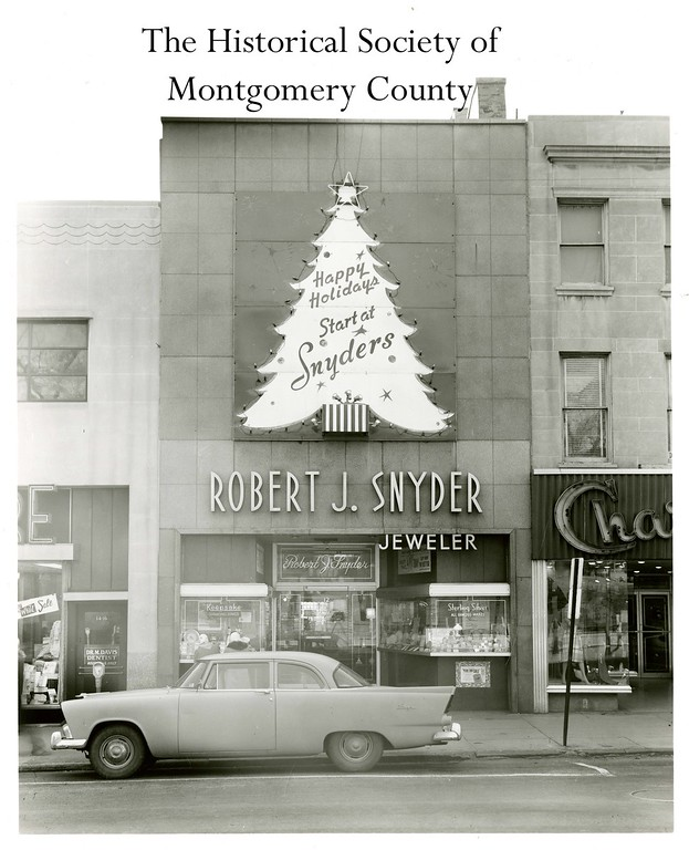 . This photo from the Historical Society of Montgomery County shows Snyder\'s jewelry store in Norristown around the holidays in the 1950s.