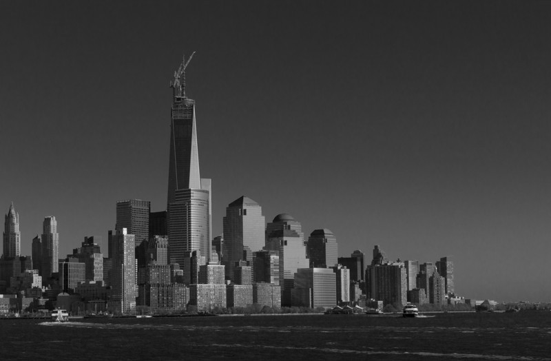 Downtown NYC as seen from Hoboken, NJ, the Freedom Tower received it's spire.