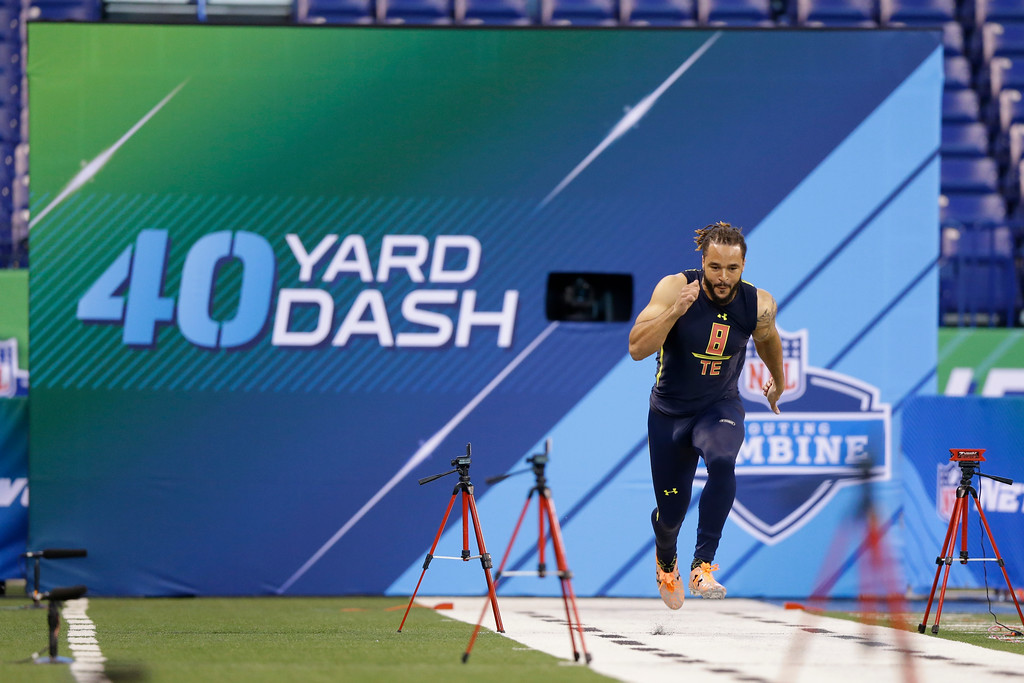 . Virginia Tech tight end Bucky Hodges runs the 40-yard dash at the NFL football scouting combine in Indianapolis, Saturday, March 4, 2017. (AP Photo/Michael Conroy)