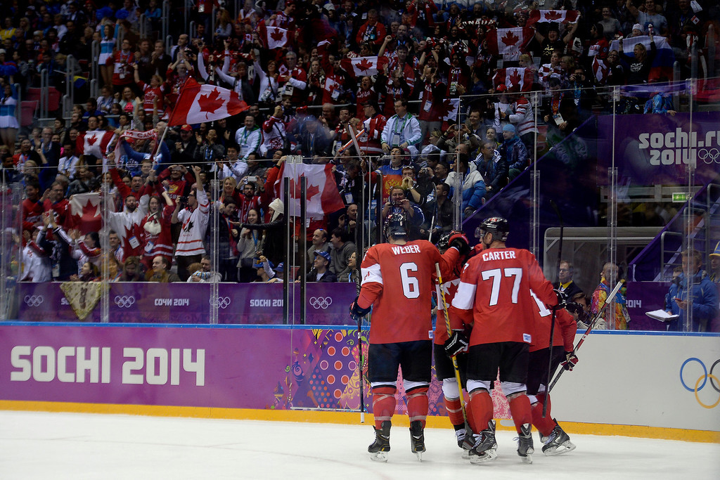 . Team Canada celebrates the game\'s first goal by Jonathan Toews (16) against Sweden during the first period of the men\'s ice hockey gold medal game. Sochi 2014 Winter Olympics on Sunday, February 23, 2014 at Bolshoy Ice Arena. (Photo by AAron Ontiveroz/ The Denver Post)