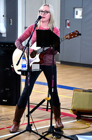 3/3/3019 Mike Orazzi | Staff Victoria Palagy of Ray & Victoria provides live music during the Charity Cycling Challenge event held at the Bristol Boys & Girls Club on West Street on Saturday.