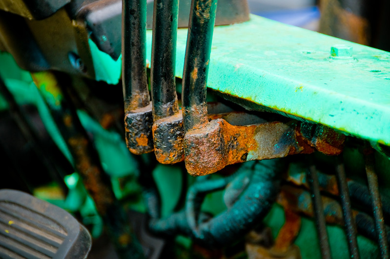 More rusty bits of the luggage loader vehicle.