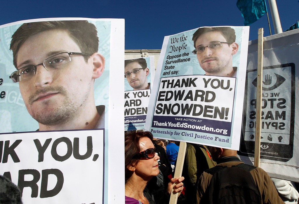 . Demonstrators protest outside of the U.S. Capitol in Washington, to demand that Congress investigate the National Security Agency\'s mass surveillance programs during a rally Saturday, Oct. 26, 2013. ( AP Photo/Jose Luis Magana)
