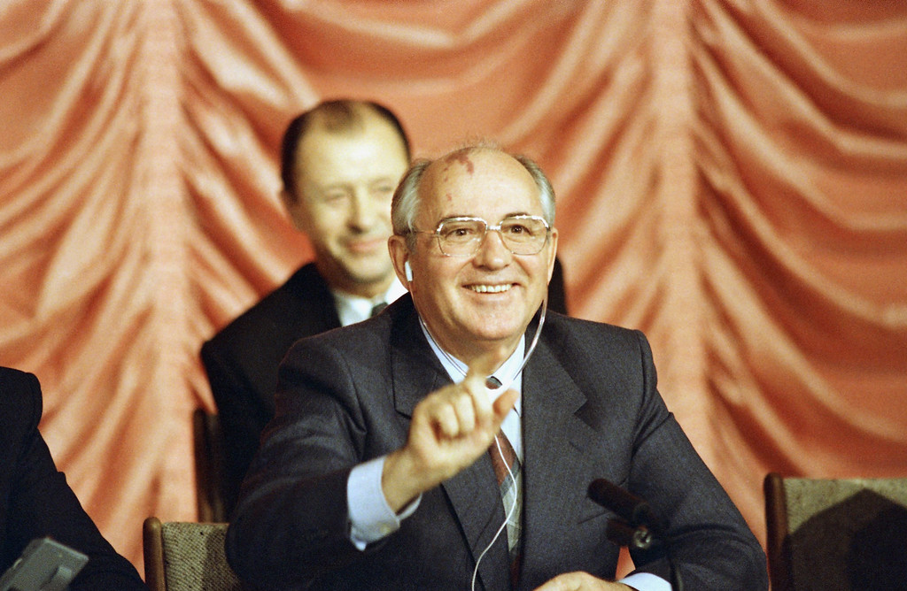 . 1987: Mikhail Gorbachev. Soviet leader Mikhail Gorbachev smile during his news conference at the Soviet Embassy in Washington on Thursday, Dec. 11, 1987.  (AP Photo/Barry Thumma)