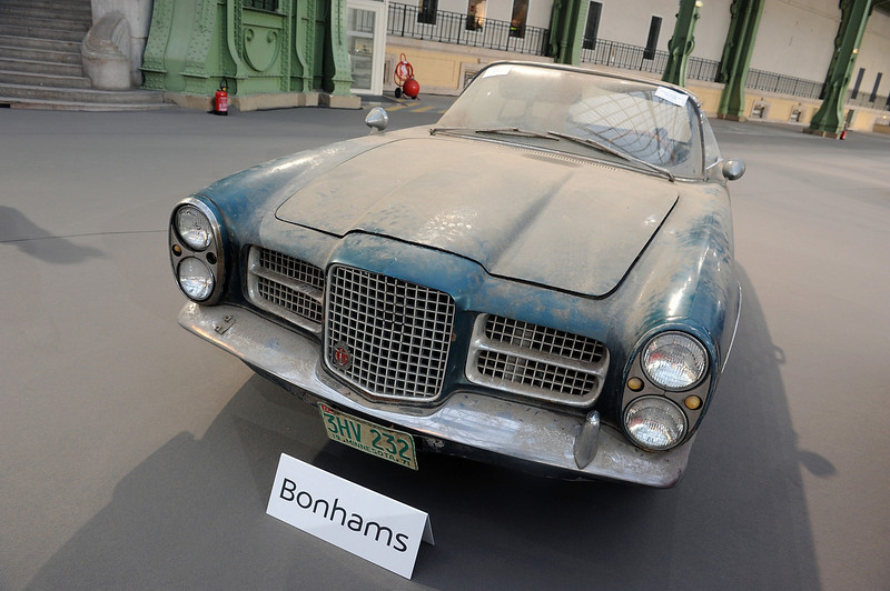 . A 1962 Facel Vega Facel II  is displayed ahead of a sale of vintage cars by Bonhams auction house, at Le Grand Palais on February 5, 2014 in Paris, France.  (Photo by Antoine Antoniol/Getty Images)