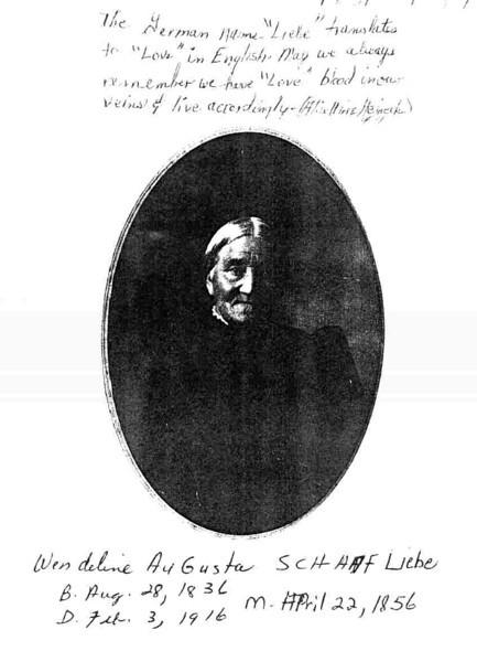 Wendelina Augusta (Schaaf) Liebe