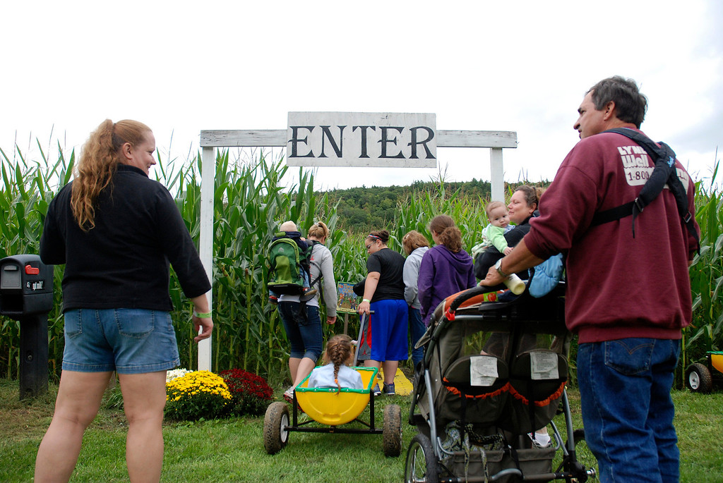 . Kayla Rice/Reformer People enter the corn maze at Gaines Farm in Guilford.