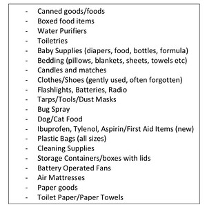 A list of items acceptable to donate