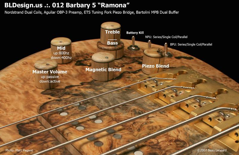 #012 Barbary 5 String Bass Electronics