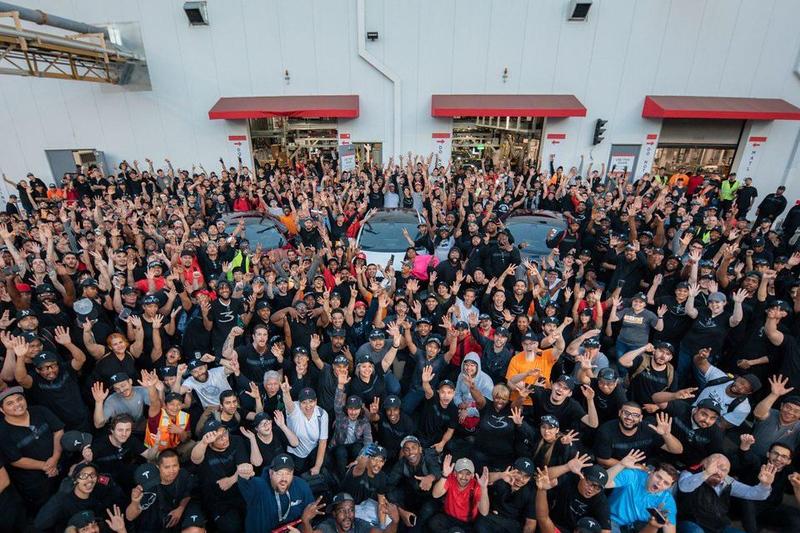 """Tesla Factory Fremont Model 3 """"5000"""" Celebration"""