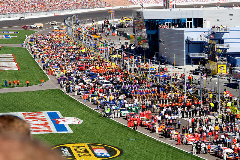 It was impressive to see the pit crews and others stand for the US national anthem