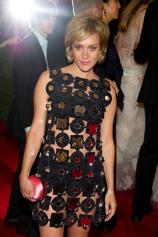 . Chloe Sevigny arrives at the Metropolitan Museum of Art Costume Institute gala benefit, celebrating Elsa Schiaparelli and Miuccia Prada, Monday, May 7, 2012 in New York. (AP Photo/Charles Sykes)